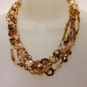 Colors of brown Czech glass necklace
